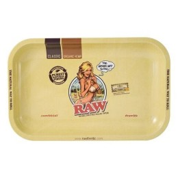 Raw metal rolling tray girl small
