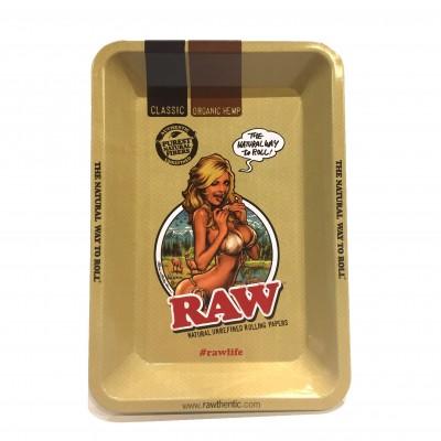 Raw metal rolling tray girl mini