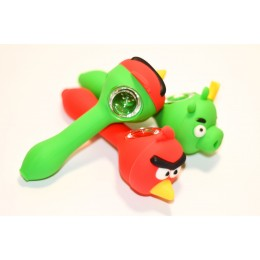 Silicone pipe angry bird red